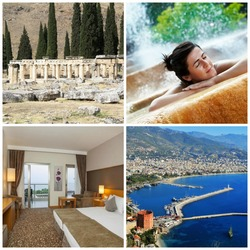 Spa & Wellness - kulttuurikiertomatka Turkin Rivieralla - sis. lennot, lentokenttäkuljetukset sekä 2 vrk Antalyassa, 2 vrk Pamukkale, 1 vrk Antalya + 2 vrk Turkin Rivieralla.  Voimassa  7.-14.3.2015